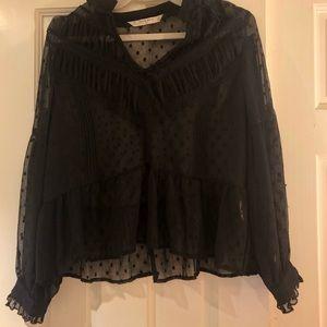 Zara Black Sheer Dot Flowy Blouse Medium